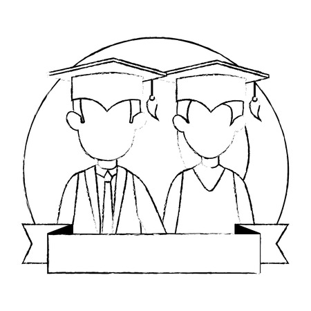 couple students graduated characters vector illustration design