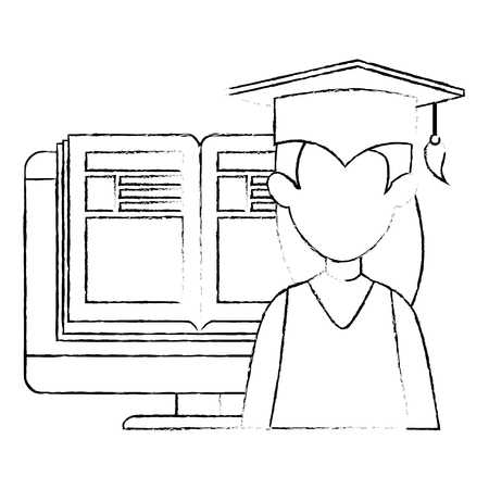 woman student graduated with computer and book vector illustration
