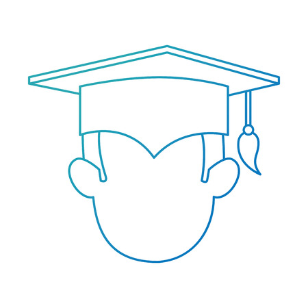 student graduated head avatar character vector illustration design