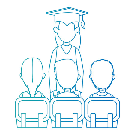 woman student graduated with students class vector illustration design