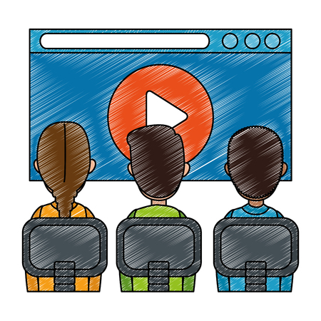 class with media player in display vector illustration design