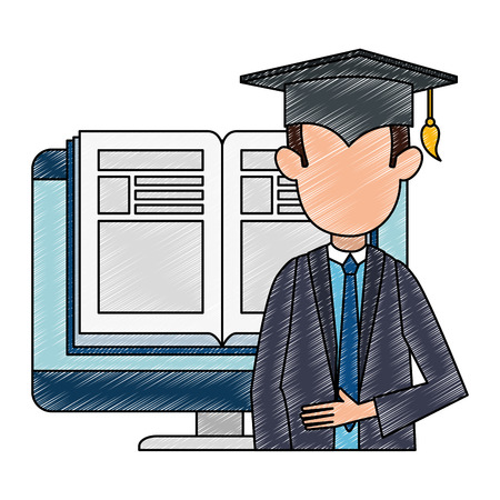 student graduated with computer and ebook vector illustration design