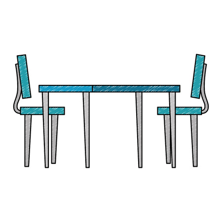 wooden table with chairs vector illustration design Archivio Fotografico - 110302912