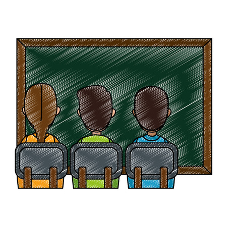 students class with chalkboard vector illustration design
