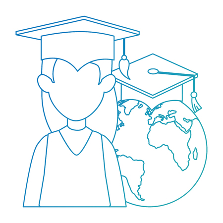 woman student graduated with world planet vector illustration design
