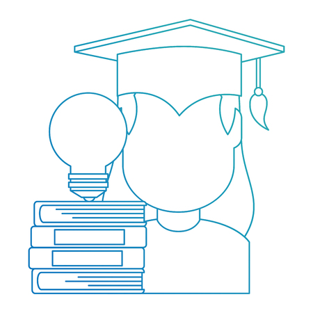 woman student graduated with books and bulb vector illustration Illustration