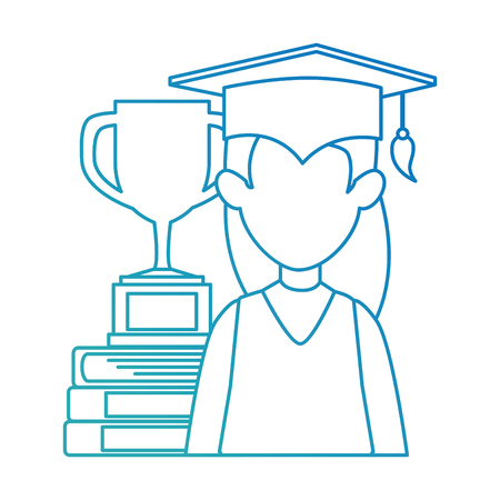 woman student graduated with trophy and books vector illustration Illustration