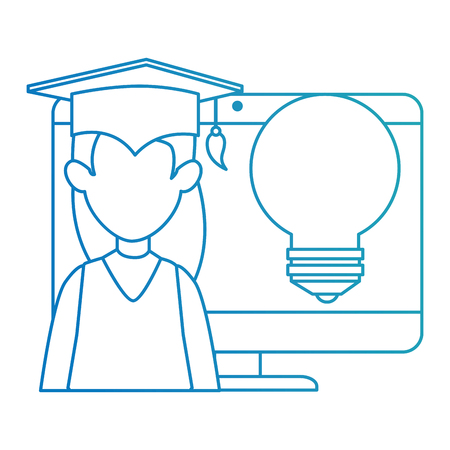 woman student graduated with computer and bulb vector illustration