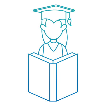 woman student graduated with book vector illustration design