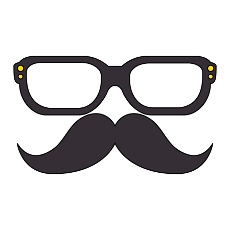mustache and glasses hipster style vector illustration design Vektorové ilustrace