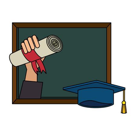 hand with graduation diploma and chalkboard vector illustration design 向量圖像