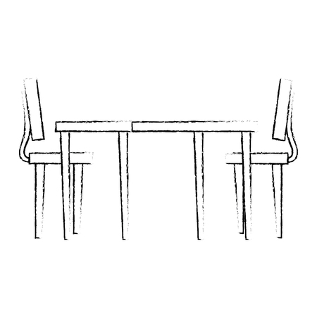 wooden table with chairs vector illustration design Archivio Fotografico - 110302976