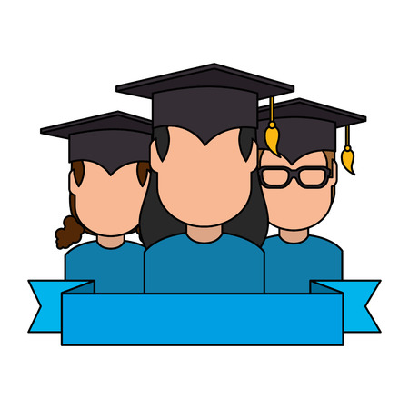 group of students graduated characters vector illustration design Çizim