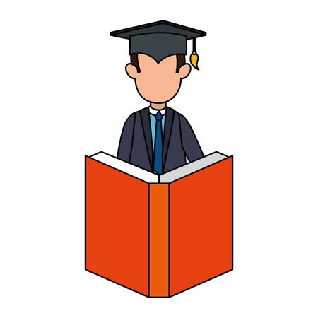 student graduated with book vector illustration design Çizim