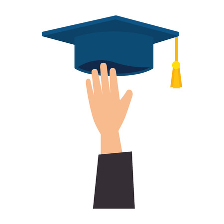hand with graduation hat vector illustration design  イラスト・ベクター素材