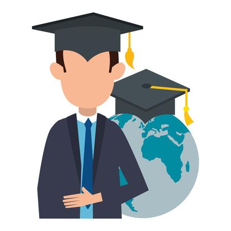 student graduated with world planet vector illustration design Illustration