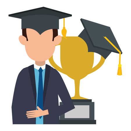 student graduated with trophy cup vector illustration design
