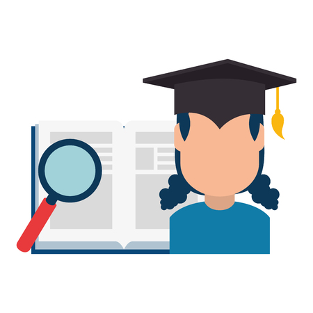 woman student graduated with book and magnifying vector illustration
