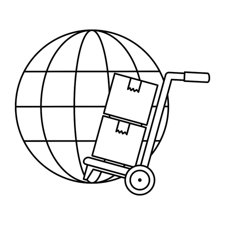sphere planet with delivery cart vector illustration design