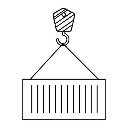 crane hook with container vector illustration design Иллюстрация