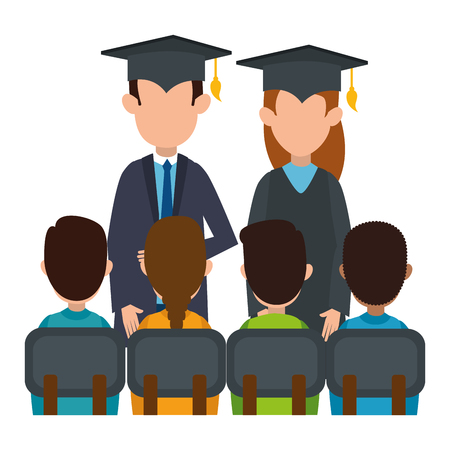couple students graduated with class vector illustration design Çizim