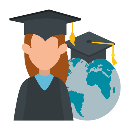 woman student graduated with world planet vector illustration design Stok Fotoğraf - 107689632