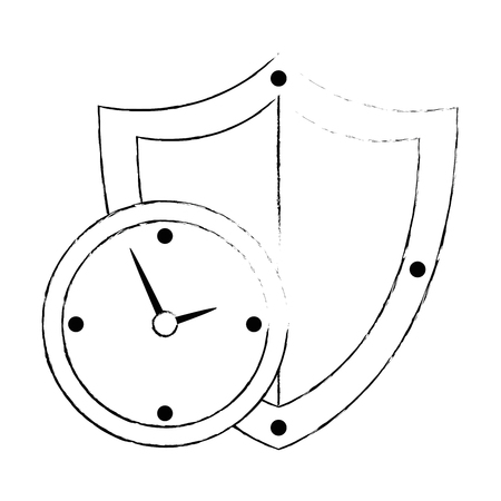 time clock with shield vector illustration design Banque d'images - 107689638