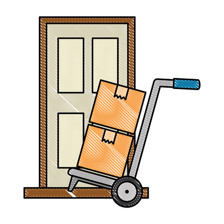 cart with boxes and door delivery service vector illustration design