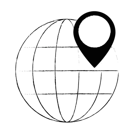 sphere planet with pin location vector illustration design