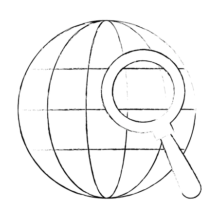 sphere planet with magnifying glass vector illustration design Çizim