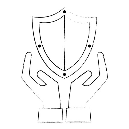 shield guard security with hands vector illustration design Illustration