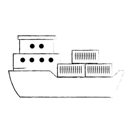 cargo ship isolated icon vector illustration design Illusztráció