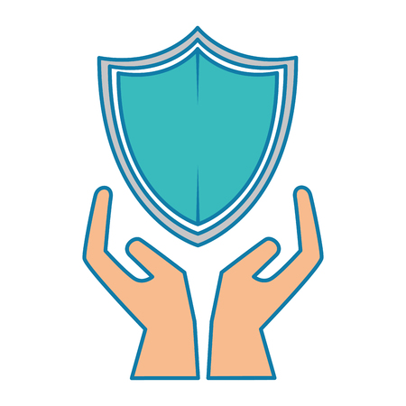shield guard security with hands vector illustration design Иллюстрация