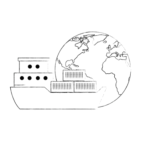 world planet earth with cargo ship vector illustration design Illustration