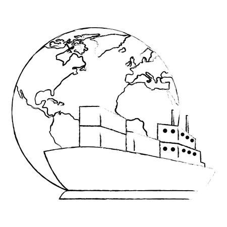 world planet earth with cargo ship vector illustration design Illustration