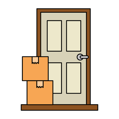 pile packing boxes with door vector illustration design