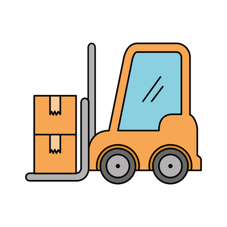 forklift vehicle with boxes vector illustration design Ilustrace