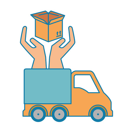 delivery service truck with hands protection vector illustration design