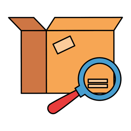packing box carton with magnifying glass vector illustration design Vettoriali
