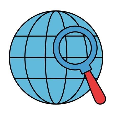 sphere planet with magnifying glass vector illustration design Illusztráció