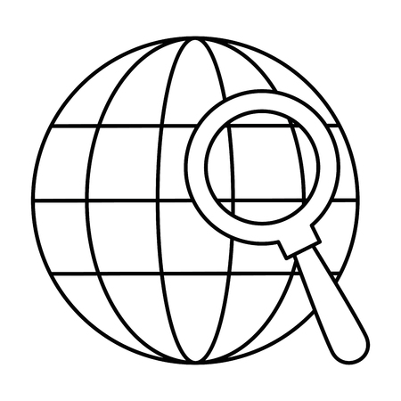 sphere planet with magnifying glass vector illustration design Ilustrace