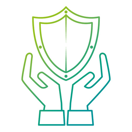 shield guard security with hands vector illustration design Illusztráció