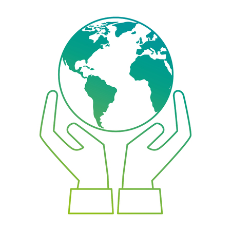 Monde planète terre avec protection des mains vector illustration design