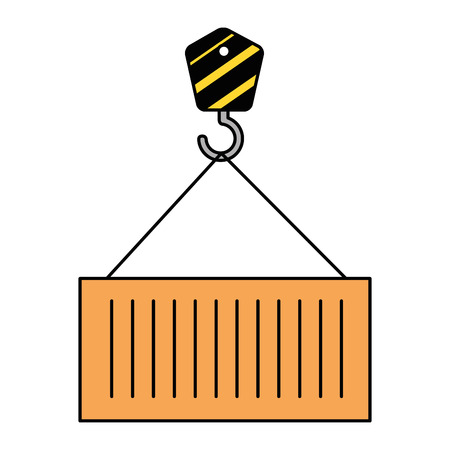 crane hook with container vector illustration design Ilustração