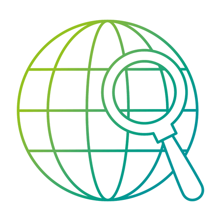 sphere planet with magnifying glass vector illustration design 일러스트