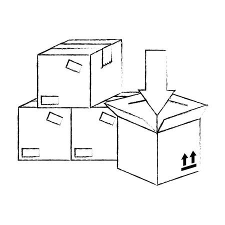 Pila de cajas de embalaje de cartón con flecha, diseño de ilustraciones vectoriales
