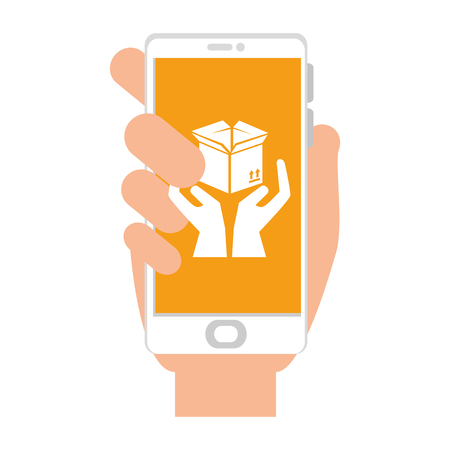 smartphone with box carton and hands protection vector illustration Çizim