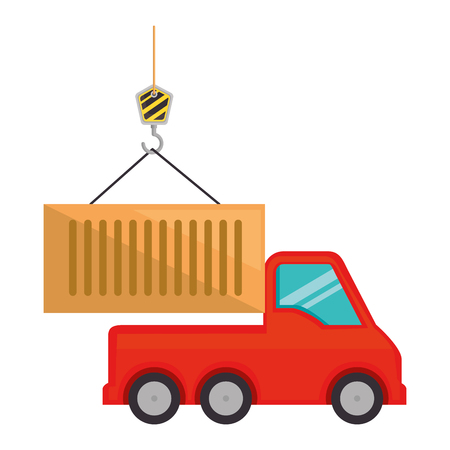 truck with crane hook and container vector illustration design