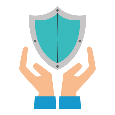 shield guard security with hands vector illustration design 版權商用圖片 - 110303278