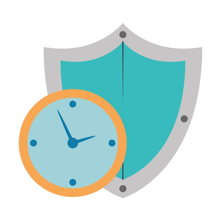 time clock with shield vector illustration design Banque d'images - 110303292